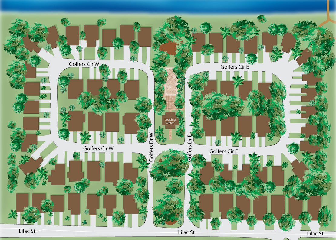 The layout of the Lilac Village properties with the leasing office in the center